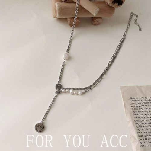 Fashion Design Necklace Titanium Steel Stitching Double-Layer Sweater Chain Personality Smiley Face Pig Nose Clavicle Chain