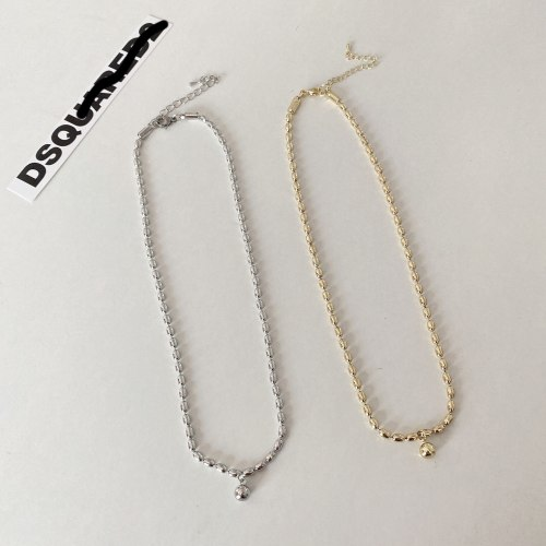 Japanese and Korean Simple Trendy Couples Necklace Niche Design Clavicle Chain Personality Small Balls Brass Necklace
