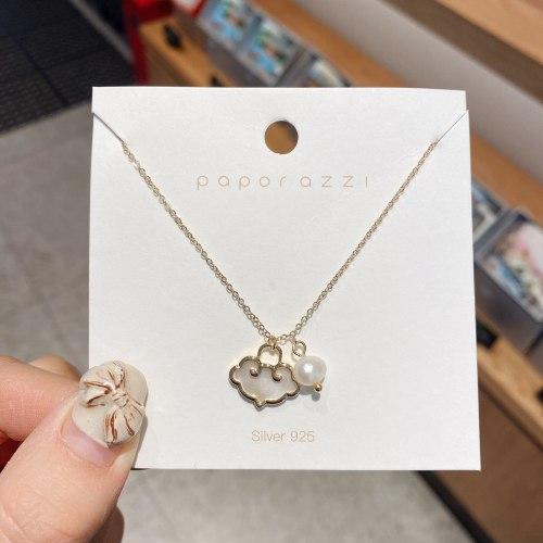 Simple Retro Necklace National Fashion Design Sense Personality Shell Longevity Lock Pearl Necklace Fashion Sweater Chain