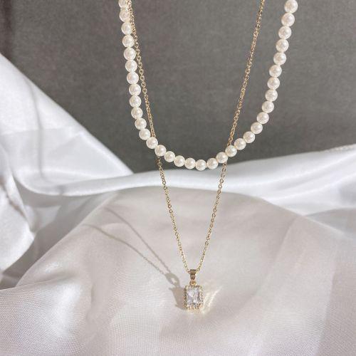 Korean Style Retro Dual-Tier and Detachable Necklace Women's Fashion Short Pearl Necklace Square Zircon Necklace