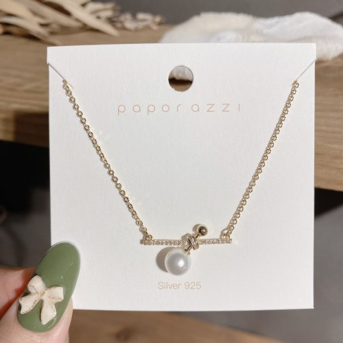 New Arrival Pearl Necklace Cold Style Cross Geometric Clavicle Chain Women's Simple All-Matching Graceful Necklace