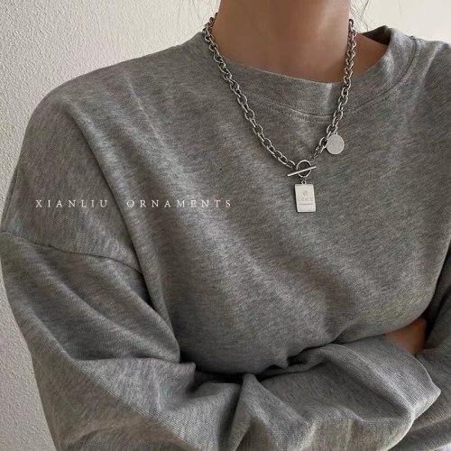 Cold Style Hip Hop Hot Titanium Steel Necklace Cross-Border Unique Geometric Letter Nameplate Clavicle Chain Couple Necklace