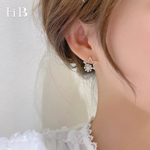 Five-Pointed Star Rotating Flower Ear Stud Necklace Zircon Creative Rotational Flower Clavicle Chain Female
