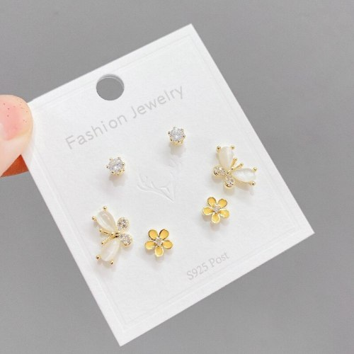 Sterling Silver Needle One Card Multi-Pair Earrings Three Pairs Finely Inlaid Stud Earrings Real Gold Electroplated Earrings