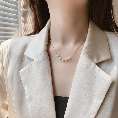 Simple All-Match Clavicle Chain Korean Style Internet Celebrity ame Style Elegant Gold Necklace for Women