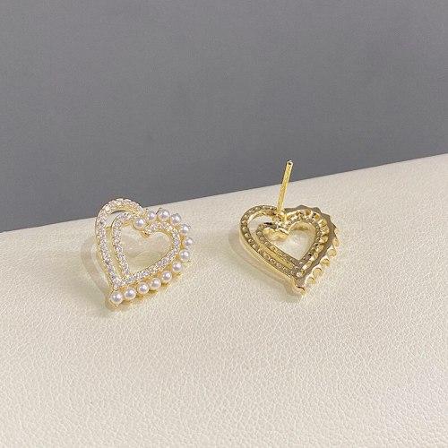 Love Heart Stud Earrings Female Sterling Silver Needle Pearl Full Diamond Peach Heart New Internet Influencer Earrings