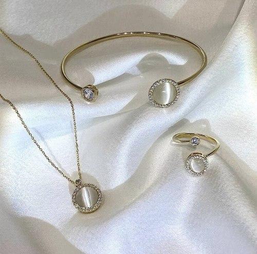 Rotating Opal Necklace Female Open Ring Elegant Bracelet Open Adjustable Korean Style Bracelet