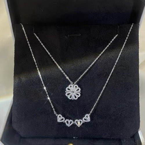 Personalized Magnetic Flower Magnet Clavicle Chain Creative Korean Version Xiaoqing Xinwei Inlaid Zircon Copper Necklace