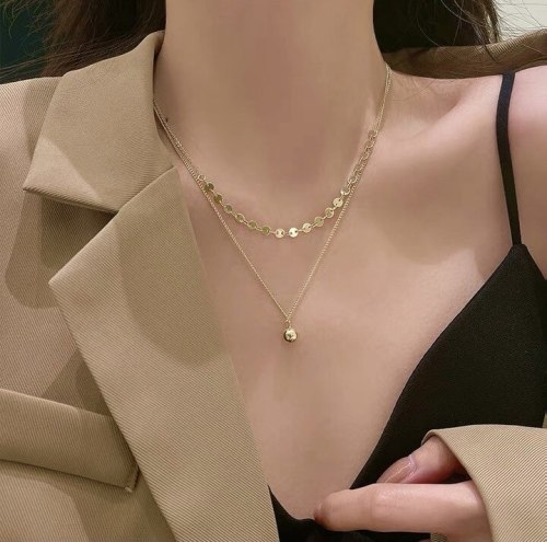Korean Style Net Red Wind Trendy Double-Layer Necklace Simple All-Match Small Golden Ball Pendant Gold Plated Clavicle Chain