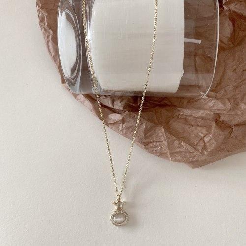 Trending Unique Lucky Bag Necklace Exquisite Micro Inlaid Zircon Purse Clavicle Chain Temperament Opal Necklace