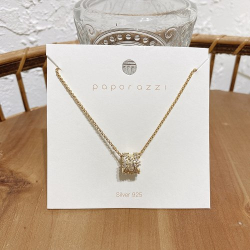 Korean Style New Gold-Plated Zircon Necklace Personality All-Match Circle Pendant Temperament Clavicle Chain