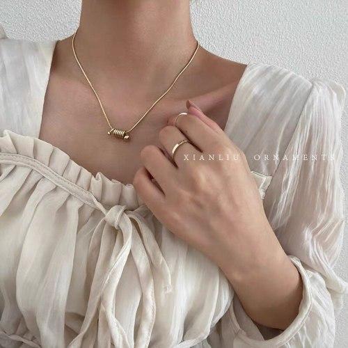 Korean Niche Design Necklace Women's Simple Elegant Geometric Titanium Steel Clavicle Chain Cold Style Necklace