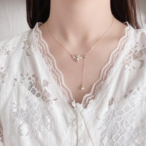 Korean-Style Gold-Plated Light Luxury Zircon Necklace Temperament Wild Flower Tassel Pearl Pendant Drawable Adjustable Necklace