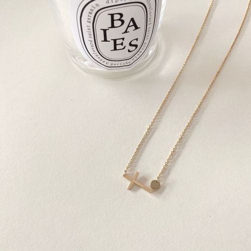 Korean Style Simple Cross Necklace Design Clavicle Chain Personality All-Match Hot Selling Necklace Wholesale