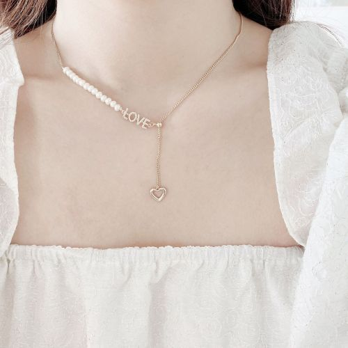 Korean Style Net Red Wind Drawable Adjustable Clavicle Chain Fashionable Heart Letter Necklace Freshwater Pearl