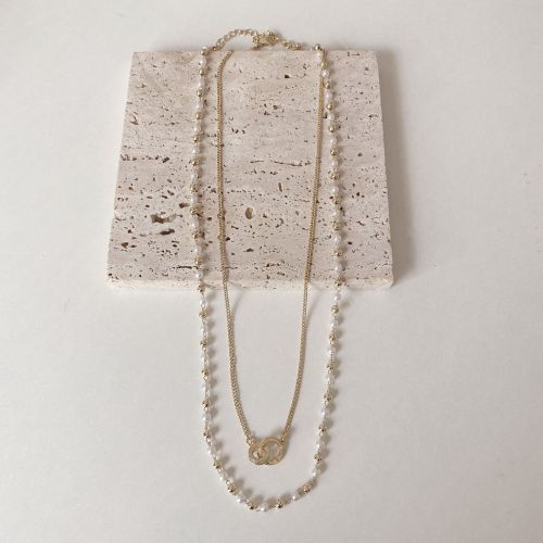 Korean Pearl Necklace Female Niche Design Double Layer Clavicle Chain Personality Fashion Twin Hot Selling Necklace