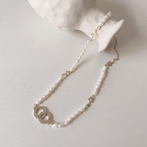 Temperamental Cold Style Freshwater Pearl Necklace High-Grade Stitching Clavicle Chain Fashion Personality Handcuffs Necklace