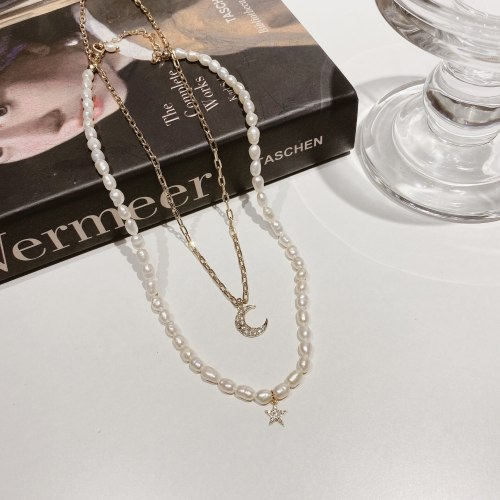 Japan and South Korea Sweet Lady Style Necklace Fresh Star and Moon Freshwater Pearl Necklace Twin Clavicle Chain Neck Chain