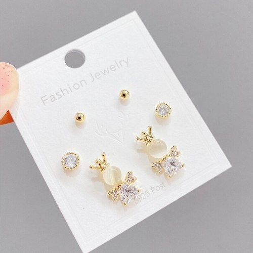 Sterling Silver Needle Fashion Girl Three Piece Set Combination Ear Studs One Card Three Pairs Opal Mini and Simple Ear Studs
