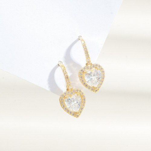 Sterling Silver Needle Heart-Shaped Zircon Stud Earrings Gold-Plated Japanese and Korean Style Net Red Same Style Earrings