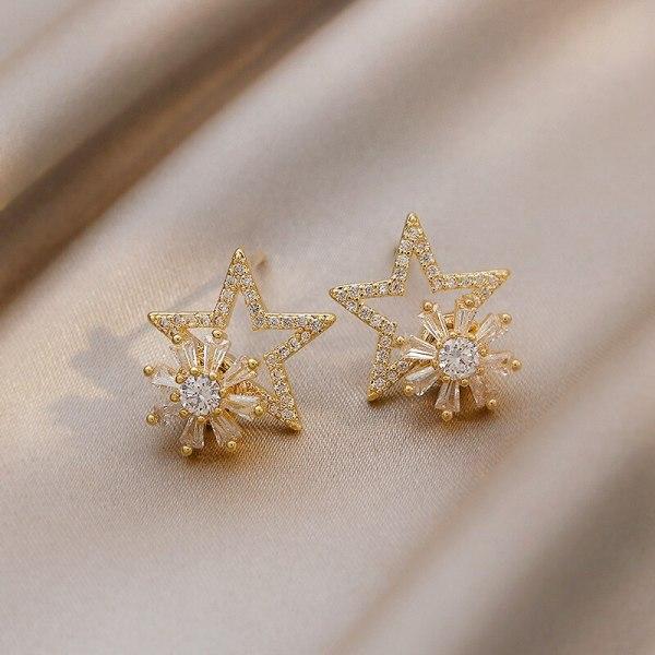 Rotatable Pentagram Earrings Temperament Female Online Influencer Korean Stud Earrings 925 Sterling Silver Needle New Earrings