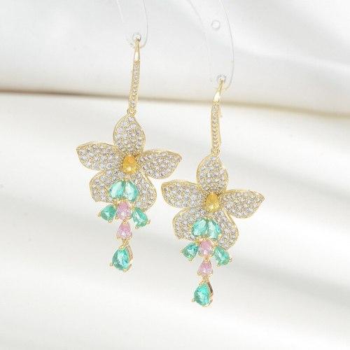 New Five Flower Petals Full Diamond Sterling Silver Needle Tassel Earrings High-Grade Temperament Ear Studs Earrings
