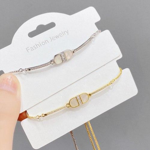 New Korean Style Fashion Shell Plated 14K Real Gold Adjustable Hand Drawer Zipper Women's High-Grade Temperament Bracelet