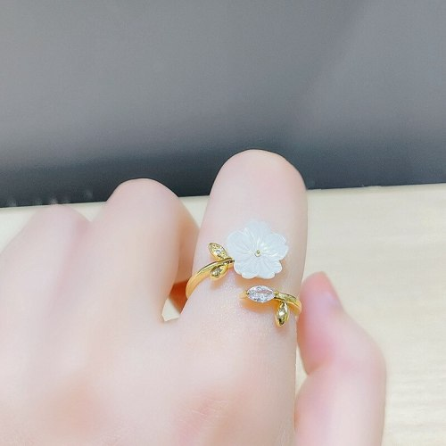 Fashion Shell Petal Zircon Ring Female Personality Simple Index Finger Ring Ins Popular Net Red Same Style Open Ring