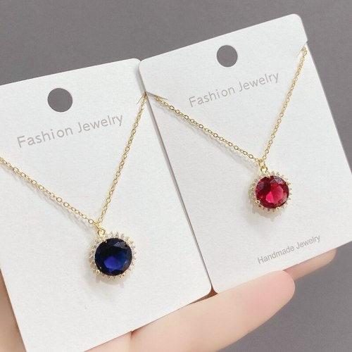 Kate Middleton Wedding Tansang Sapphire Necklace SUNFLOWER Zircon Clavicle Chain Trendy Female