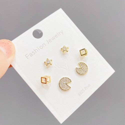 One Card Three Pairs Combination Set Design Personality Three-Piece Suit Stud Earrings Sterling Silver Needle Zircon Earrings