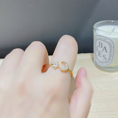 Korean Fashion Ring Female Star Moon Ring Personality Micro Inlaid Zircon Five-Pointed Star Open Finger Ornament