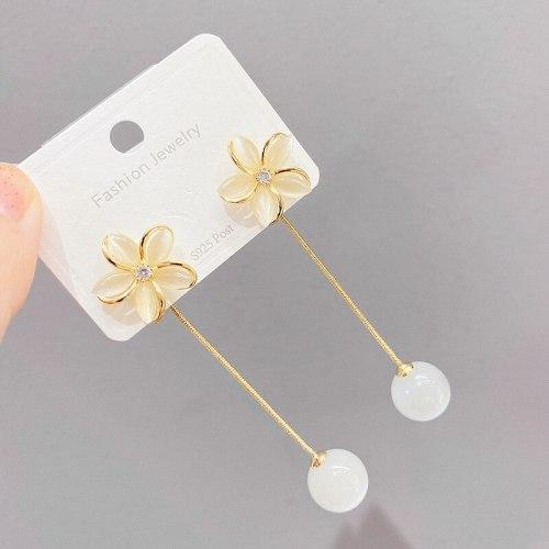 New Flower Opal Dual-Wear Tassel Earrings for Women Graceful Long Earrings Sterling Silver Needle Stud Earrings for Women