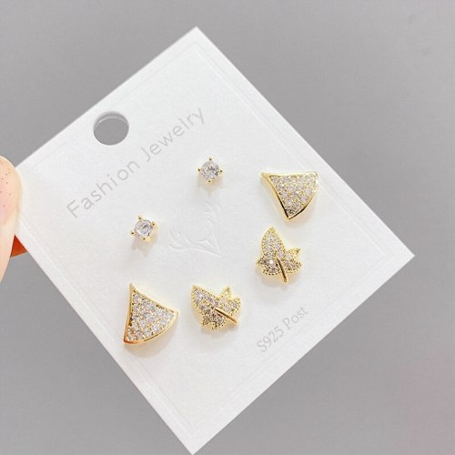 Popular 925 Silver Needle Small Ear Studs One Card Three Pairs Set Combination Zircon Anti-Allergy Small Skirt Earrings