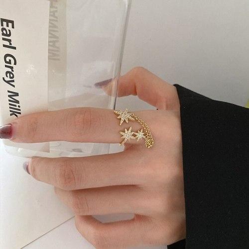 Korean Classic Eight Awn Star Chain Tassel Index Finger Ring Finger Opening Adjustable Retro Minority Index Finger Ring