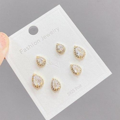 Sterling Silver Needle One Card Multi-Pair Earrings Three Pairs Finely Inlaid Stud Earrings Real Gold Plating Slimming Earrings