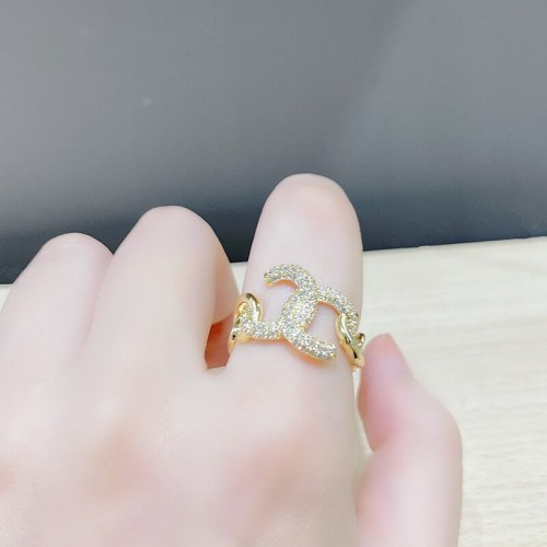 European and American Cold Style Zircon round Line Pin Open Ring  Personality Chain Hollow Ornament