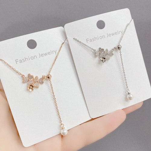 Titanium Steel Necklace Simple Peach Heart Pearl Tassel Pendant Clavicle Chain Graceful Personality Internet Celebrity Necklace