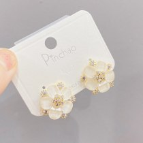 Opal Stone Ear Studs Super Fairy Three-Dimensional Flower Earrings Women's Fresh All-Match Sterling Silver Needle