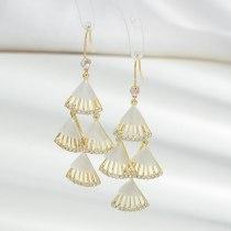 Sterling Silver Needle Micro Inlaid Zircon Fanshaped Eardrops Long Fringe Earrings Female Socialite Graceful Earrings