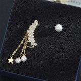 Asymmetric S925 Silver Needle Tassel Earrings High-Grade Pearl Stud Earrings Ear Clip Online Influencer Earrings Women