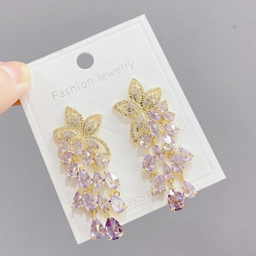 Heavy Industry Micro-Inlaid Color Zircon S95 Silver Needle Long Tassel Design Ear Studs All-Match Fairy Elegant Earrings