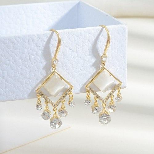 Sterling Silver Needle New Opal Stone Ear Studs Women's Tassel Earrings Light Luxury Micro Zircon Graceful Earrings Ornament