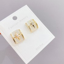 Eight Awn Star Opal Stone Ear Studs Women's Sterling Silver Needle Trendy Earrings Korean Fashion High Sense Graceful Ear Rings
