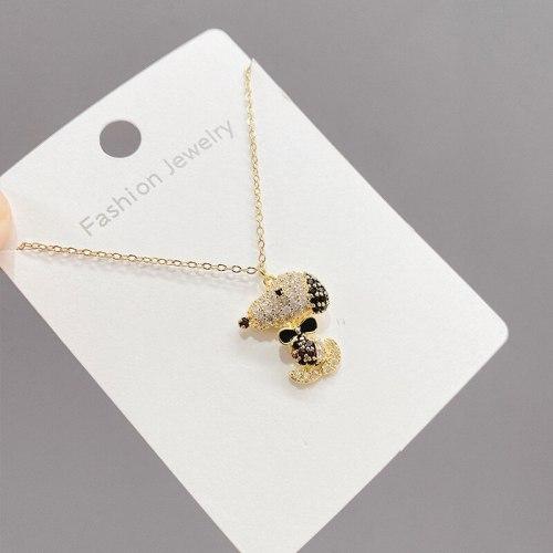 Korean Style Fashion Micro Inlaid Zircon Mini Puppy Pendant Trendy Necklace Female Simple Graceful Clavicle Chain Ornament