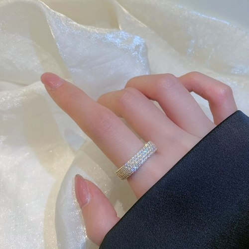 Japanese and Korean Style Rhinestone Zircon Ring Fashion Simple Square Diamond Closed Mouth Index Finger Ring