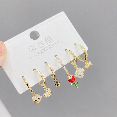 Korean Style Trendy Earrings One Card Three Pairs of Earrings Set Environmentally Friendly Electroplated Real Gold Ear Rings