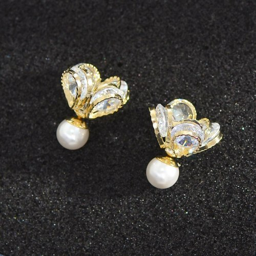 Petal Pearl Earrings Elegant Socialite Three-Dimensional Sterling Silver Needle Earrings Micro Inlaid Zircon Flower Earrings