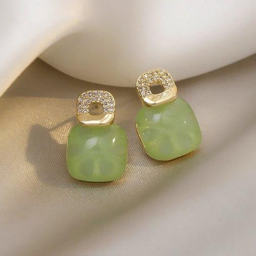 Green Ear Studs Simple Elegant Zircon Small Korean Earrings 2021 New Trendy Women Sterling Silver Needle Earrings for Women
