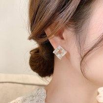 Super Fairy Square Zircon Asterism Stud Earrings Korean-Style Simple Sterling Silver Needle Graceful and Petite Stud Earrings