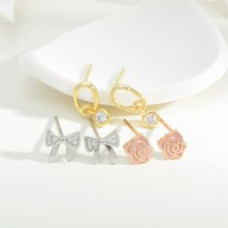 Sterling Silver Needle Fashion Girl Three Piece Set Combination Ear Studs One Card Three Pairs Bowknot Student Ear Studs